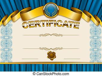 elegante, sagoma, di, certificato, diploma