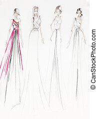 elegante, salón de baile, vestidos