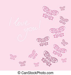 Rosa Cornice Farfalle Fondo
