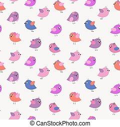 elegante, seamless, patrón, con, caricatura, lindo, aves