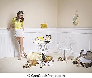 elegante, senhora, um quarto, cheio, de, moda, acessórios