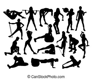 elegante, silhouette, donne, esercizio, idoneità