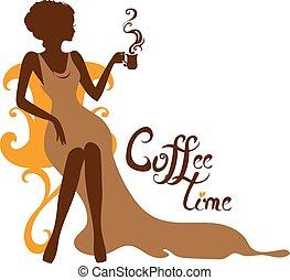 elegante, silueta, de, mulher bonita, com, um, xícara café