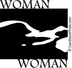 elegante, silueta, mulher, pretas