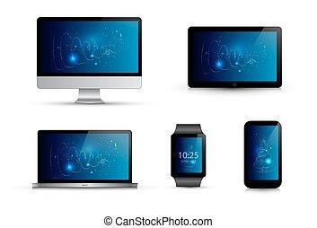 elegante, simulado, wallpaper., template., tablet., reloj, ...