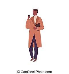 elegante, smartphone., faceless, plano, célula, aislado, o, primavera, negro, ropa de calle, teléfono., caricatura, piel, chamarra, otoño, llevando, casual, mirar, ilustración, hombre, carácter, vector, blanco masculino