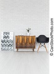 elegante, soffitta, decorazioni, mobilia
