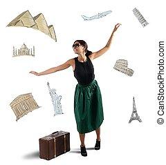 elegante, sognante, turista