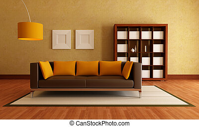 elegante, stanza moderna, vivente