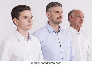 elegante, suo, padre, adolescente, nonno