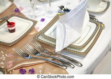 elegante, tabla, conjunto, para, un, boda, cena