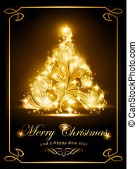 elegante, tarjeta, fiesta de christmas, invitación
