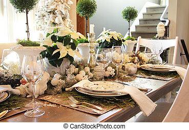 elegante, tavola cena, setting., natale