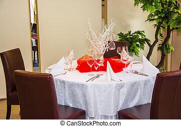 elegante, tavola, set, per, uno, cena