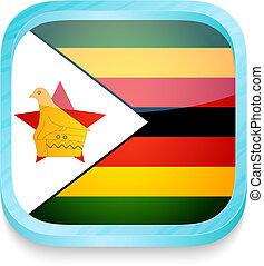 elegante, teléfono, botón, con, bandera de zimbabwe