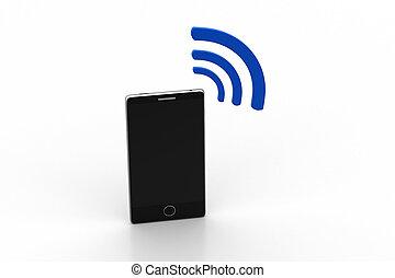 elegante, teléfono, con, icono de internet