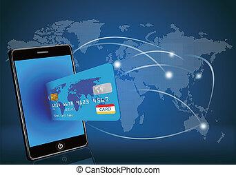 elegante, teléfono, con, tarjeta de crédito, en, glo