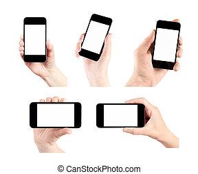 elegante, teléfono móvil, conjunto, pantalla, blanco, mano