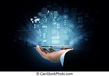 elegante, teléfono, tecnología de internet