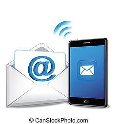 elegante, teléfono, transmitir, email