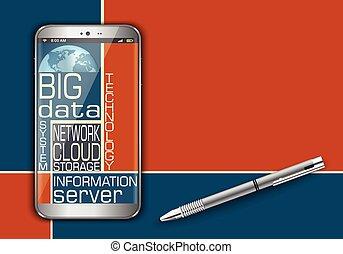 elegante, teléfono, y, grande, datos