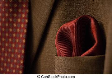 elegante, traje, corbata roja