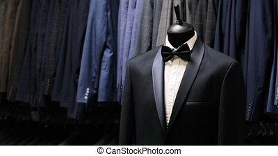 elegante, uomini, suit., uomini, giacca, su, uno, mannequin., uomini, clothing., abbigliamento, store., shopping, in, boutiques.