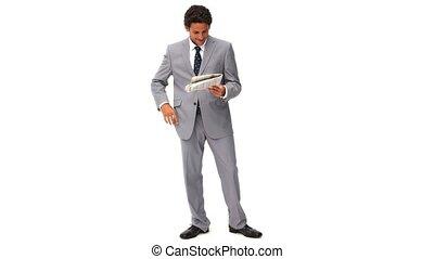 elegante, uomo affari, lettura, uno, notizie