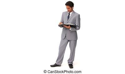 elegante, uomo affari, note prendono