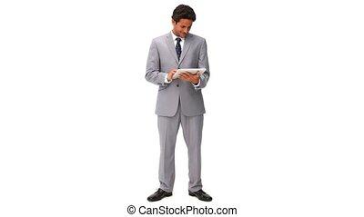 elegante, uomo affari, usando, uno, tocco