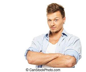 0cd0148343 Camicia blu, isolato, orecchino, elegante, bianco, uomo.
