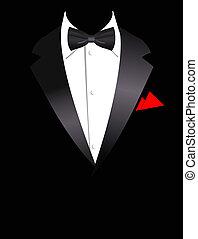 elegante, vector, ilustración, traje