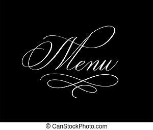 elegante, vector, liso, diseño, menú, pluma de caligrafía