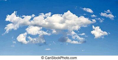 elegante, vector, nubes, en, cielo azul, plano de fondo