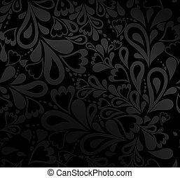 elegante, vector, pattern., seamless, negro