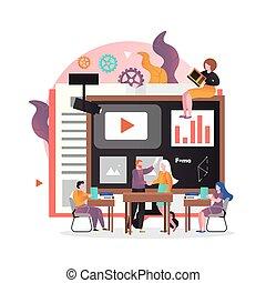 elegante, vector, sitio web, página web, concepto, tecnología, bandera, educación