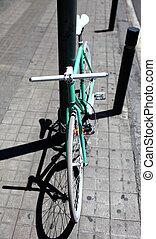 elegante, verde, bicicleta