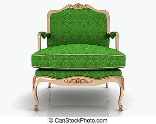 elegante, verde, clásico, sillón