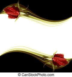 elegante, vermelho, rosebuds, cartão, romanticos