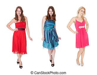 elegante, vestidos, mujeres