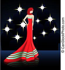 elegante, vestire, signora, rosso, lungo