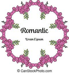 elegante, vetorial, casório, grinalda, frame., roxo, romanticos, convite