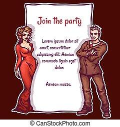 elegante, vetorial, partido, ilustração, convite