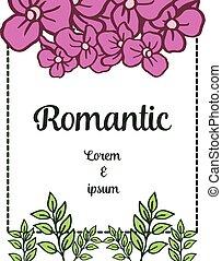 elegante, vettore, matrimonio, ghirlanda, frame., viola, romantico, invito