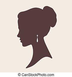 elegante, vettore, silhouette, sposa