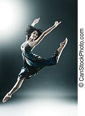 elegante, y, joven, moderno, estilo, bailarín, es, saltar