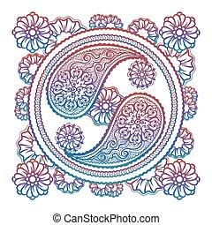 elegante, yin-yang, colorito, segno