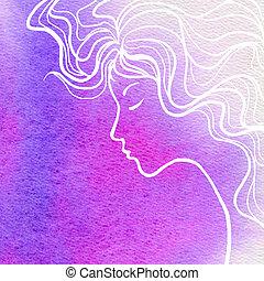 elegantie, meisje, gezicht, en, de kleur van het water, achtergrond