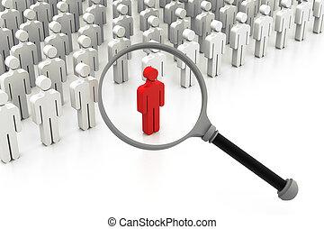 elegir, derecho, buscando, persona, gente