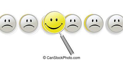 elegir, felicidad, lupa, fila, de, smileys